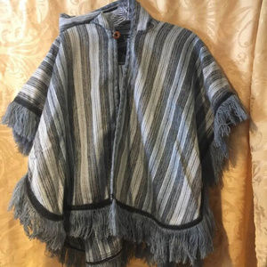 Jackets & Blazers - BLUE & GRAY STRIPED, HOODED CAPE/PONCHO, S